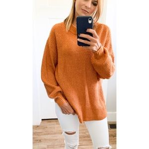 american eagle orange soft tunic sweater